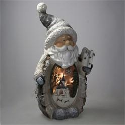 Weihnachtsmann mit LED Beleuchtung, 52 cm, aus Polyresin