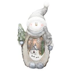 Schneemann mit LED Beleuchtung, 53 cm, aus Polyresin