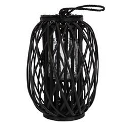 Riedlaterne mit Henkel 40x Ø26 cm schwarz aus umweltfreundlichem Ried