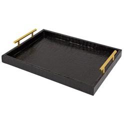 Tablett 39x29 cm schwarz aus Kunstleder Deko Tablett in Krokodil-Optik