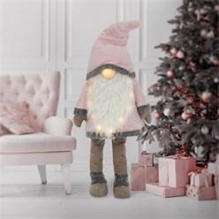 LED Wichtel-Figur 158 cm rosa/weiß aus Kunststoff und Polyester