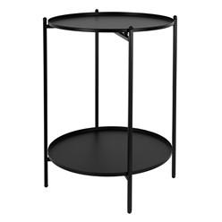 Beistelltisch mit 2 abnehmbaren Ablageflächen Ø 38x50 cm schwarz aus Metall