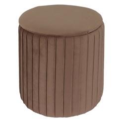 Sitzhocker mit Stauraum Ø 34x37 cm braun aus Samtstoff
