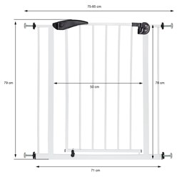 Türschutzgitter weiß, 75-85 cm, ohne Bohren, aus pulverbeschichtet Metall