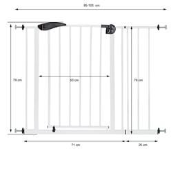 Türschutzgitter weiß, 95-105 cm, ohne Bohren, aus pulverbeschichtet Metall