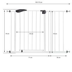 Türschutzgitter, weiß, 105-115 cm, aus Metall