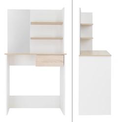 Schminktisch mit Hocker, weiß, 75x40x135 cm, aus MDF Holz
