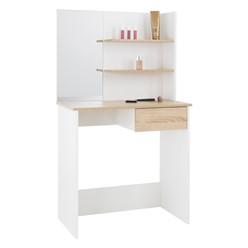 Schminktisch mit Spiegel, weiß, 75x40x135 cm, aus MDF-Holz