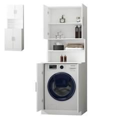 Waschmaschinenschrank mit 4 Türen, weiß, 70,5x190,5x70 cm