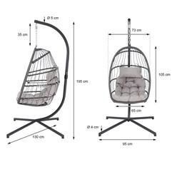 Hängesessel grau mit Gestell und Kissen, aus Stahl und Polyrattan-Geflecht