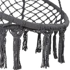 Hängesessel grau,  Ø 80x115 cm, aus Baumwolle, Belastbar bis 120 kg