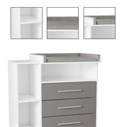 Wickelkommode mit 3 Schubladen und Fächern, weiß/grau, 113x100x53 cm, aus Spanplatte
