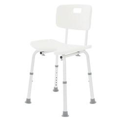 Duschstuhl mit Rückenlehne, 8-stufig, weiß, bis 200kg, aus Aluminium