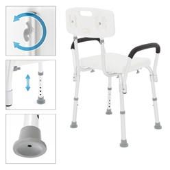 Duschstuhl mit Rückenlehne, 6-stufig, weiß, bis 200kg, aus Aluminium