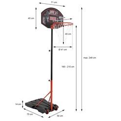 Basketballkorb mit Ständer, orange/schwarz, 248 cm, aus pulverbeschichtet Stahl