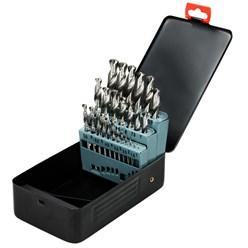 Assortiment de 25 forets à métaux jeu de forets hélicoïdaux HSS-G boîte en métal