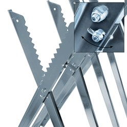 Chevalet de sciage métal galvanisé avec dents max.150 kg + matériel de montage