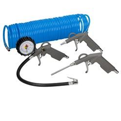 Druckluft Zubehör Set 4 Teilig für Kompressor, 15 m Knickfester Spiralschlauch