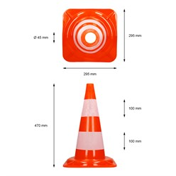 Verkehrskegel Pylon, 50 cm, orange-weiß
