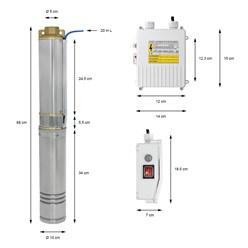 Tiefbrunnenpumpe 4 Zoll 370W, aus Edelstahl, IP44, 2850 U/min, 4000 l/h