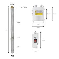 Tiefbrunnenpumpe 2,27KW 20m Kabel 230V / 50Hz