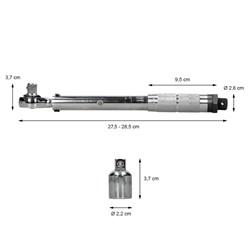 "Drehmomentschlüssel 3/8"" mit Knarre, 13.6-108.5 Nm, Vierkantantrieb, inkl. 1/2"" Adapter"