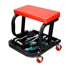 Mechanischer Werkstatthocker mit Schublade, fahrbar, mit 4 Rollen und weicher Sitzauflage, aus Stahl