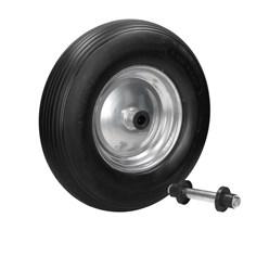 Roda de carrinho de mão de borracha maciça 390 mm preta