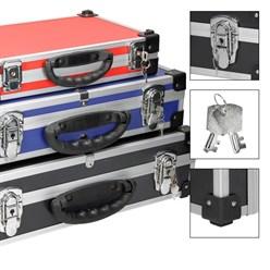 3x Valise aluminium stockage malettes boîte rangement outils noir rouge bleu