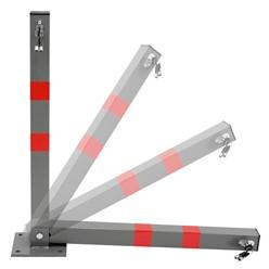 Parkplatzsperre 65,5 cm, eckig, mit roten Warnstreifen und 3 Schlüssel, aus Stahl