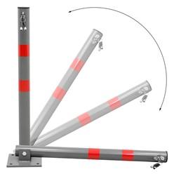 Klappbare Parkpfosten, 68 cm, rund, mit roten Warnstreifen und 3 Schlüssel, aus Stahl