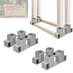 Kit 4x support d'empilage du bois de chauffage cheminée étagères de bois en fer