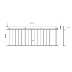 Französischer Balkon 90 x 225 cm, mit 16 Füllstäben, Anthrazit, aus pulverbeschichtet Stahl