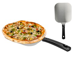 Pizzaschaufel Edelstahl 400mm Schaufel 180x180mm