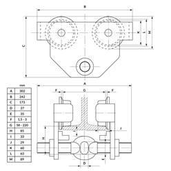 Laufkatze Rollfahrwerk 1000 kg, Flanschbreite 58-220 mm