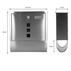Design Briefkasten mit Zeitungsfach, aus Edelstahl, mit 2 Schlüsseln und Montagematerial