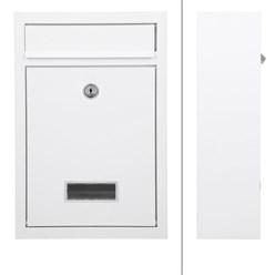 Briefkasten aus Stahl, Weiß, mit 2 Schlüsseln und Montagematerial