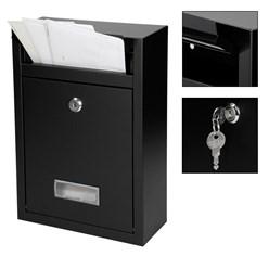 Briefkasten aus Stahl, Schwarz, mit 2 Schlüsseln und Montagematerial