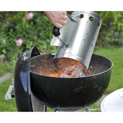 Cheminée d'allumage en acier pour barbecue poignée de sécurité charbon de bois