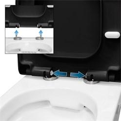 Premium Duroplast Toilettendeckel D-Form, schwarz, mit Soft-Close inkl. Befestigungsmaterial