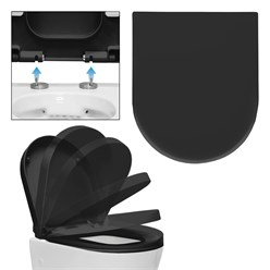 WC-Sitz abnehmbar mit Absenkautomatik Schwarz