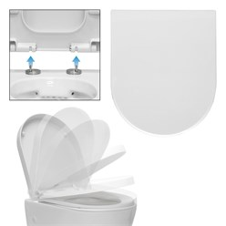 WC seat removable with soft-closing mechanism White