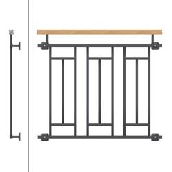 Französischer Balkon 90x100 Anthrazit + Holzoptik