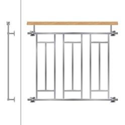Französischer Balkon Edestahl mit Holzoptik 90 x 100 cm
