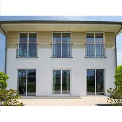 Französischer Balkon 90x128 Anthrazit + Holzoptik