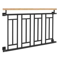 Französischer Balkon Anthrazit mit Holzoptik 90 x 128 cm