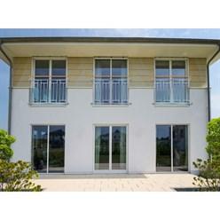 Französischer Balkon 90 x 128 cm Silber mit Holzoptik