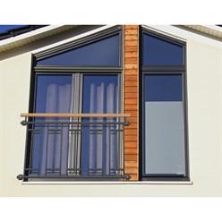 Französischer Balkon 90x156 Anthrazit + Holzoptik