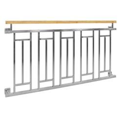 Französischer Balkon 90 x 156 cm Silber mit Holzoptik