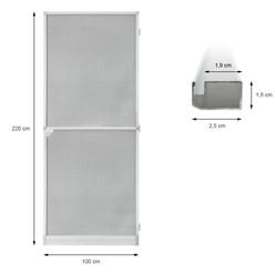 Fliegengitter Tür Alu Weiß 100x220cm Selbstschließend